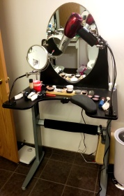 Custom wheelchair accessible vanity and adapted make-up set-up