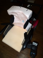 Foam in place backrest after trimming, with trunk laterals